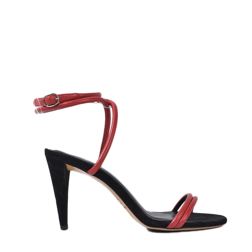 Isabel Marant Red Round Straps Abigua High Heel Sandals