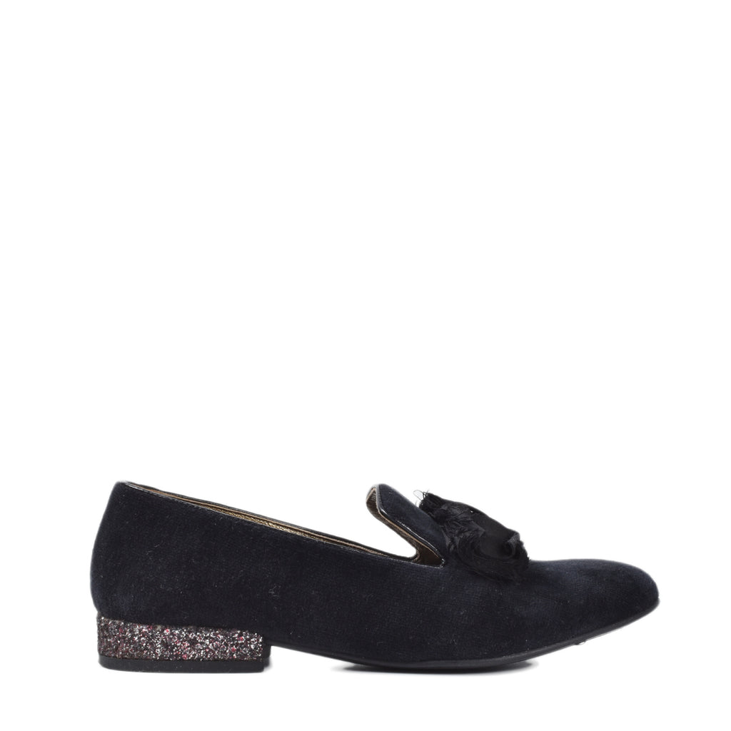 Lanvin Black Velvet Bow Loafers