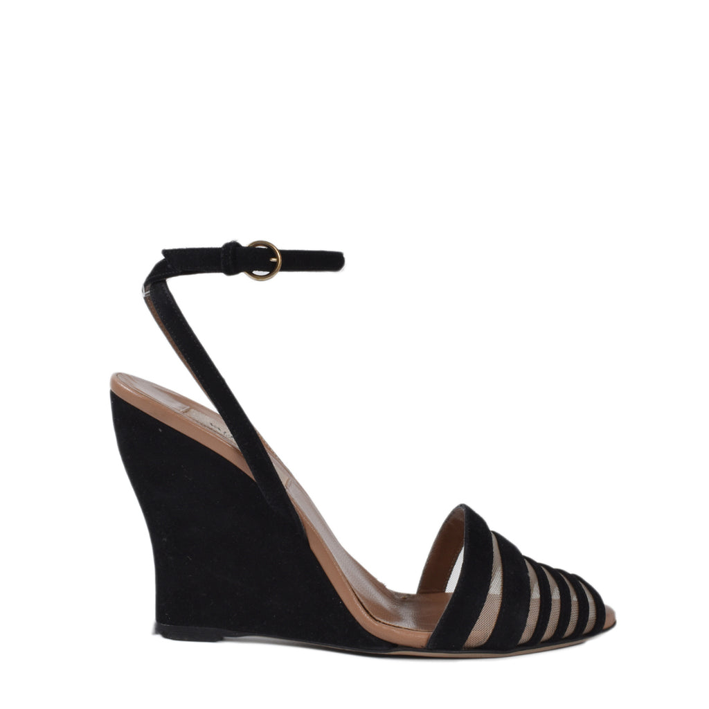 Valentino Black Suede & Mesh Peep Toe Wedge Sandals