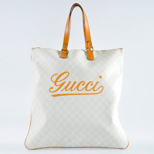 Gucci 211136 GG White Canvas with Yellow Trim Tote