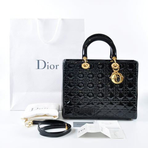 20cd3b436 Previous. Christian Dior Large Lady Dior Patent Leather Black GHW ...