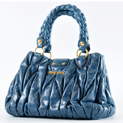 Miu Miu Blue Matelasse Lux Leather Bauletto Aperto Bag RN0473