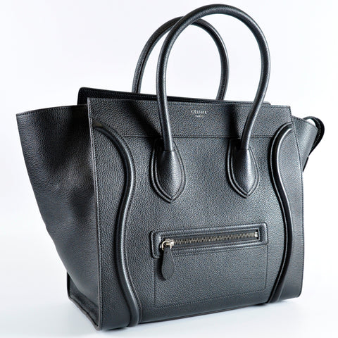 Céline Mini Luggage Tote in Black Grained Calfskin S-AT-3174 S-CU 3174 - Glampot