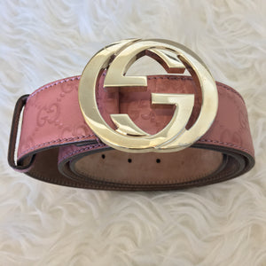 Gucci Imprime GG Leather Belt Interlocking G Buckle Pink 114876 1476 - Size 90/36