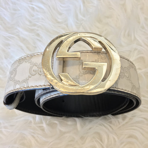 2b50c89a6a1 Gucci Guccissima Belt with Interlocking G Leather Off Cream 114876 ...