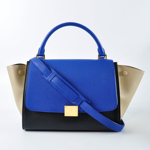 Céline Small Trapeze Tricolour in Cobalt Drummed Leather  Black Calfskin    Nude Smooth Calfskin S 2f6e3d33d8962