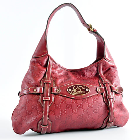 593c3173d9c1a7 Gucci 163804 204991 Red Guccissima Leather 85th Anniversary Bridle Bit Hobo