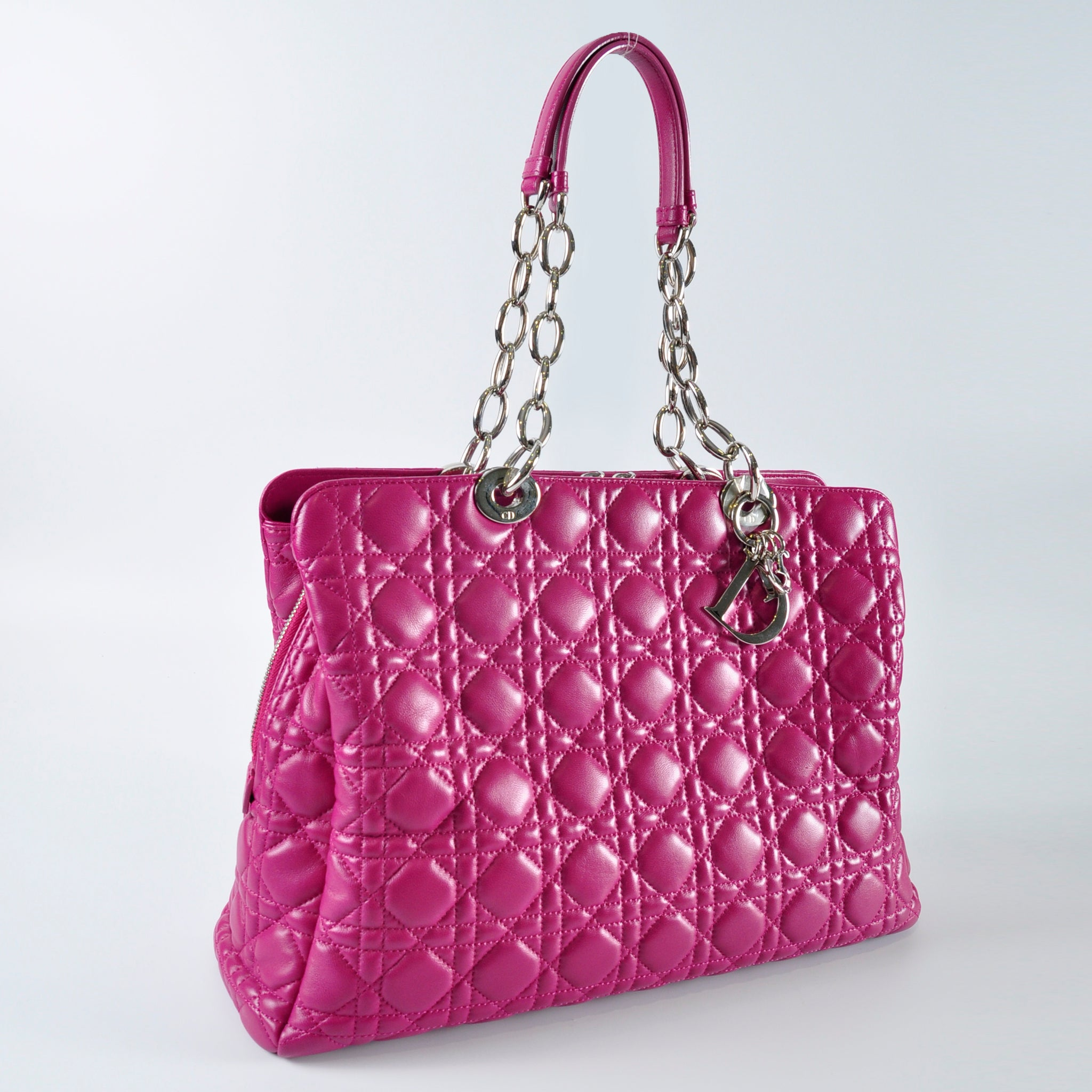 Christian Dior Purple SHW Cannage Lambskin Shopping Tote Bag