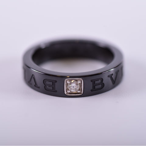 Bvlgari Black Ceramic and Diamond Ring - Size US 8 - Glampot