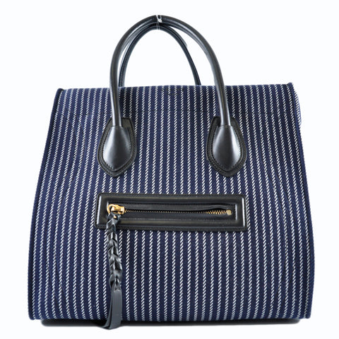 Céline Phantom Luggage Tote Navy Stripe Canvas - Glampot