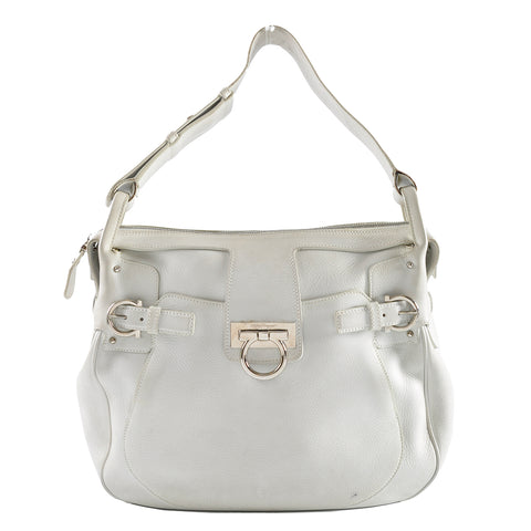 Salvatore Ferragamo White Shoulder Bag FT-21 7355