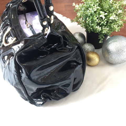 Gucci 189835 Black Patent Leather D Ring Large Hobo Bag 205011