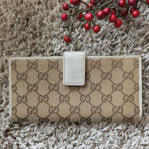 Gucci 256933 Continental Wallet with Web Bow and Interlocking G Detail