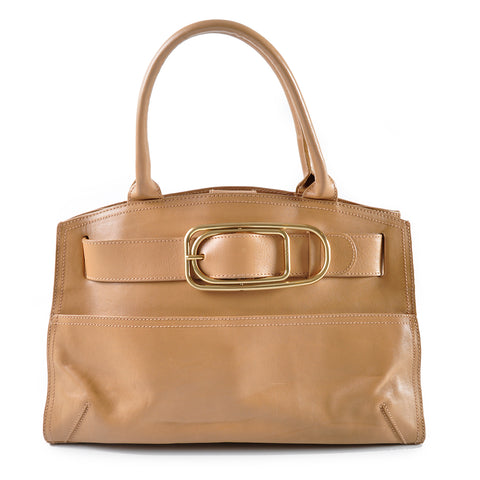 Furla Tan Leather East West Bag with Belt Buckle Detail
