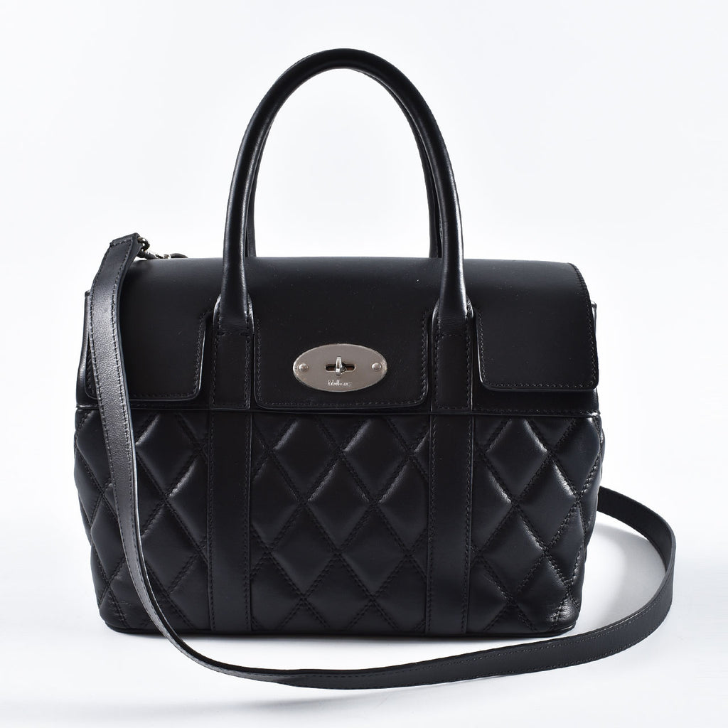 Mulberry Small Bayswater Quilted Smooth Calfskin Black SHW Bag HH4939