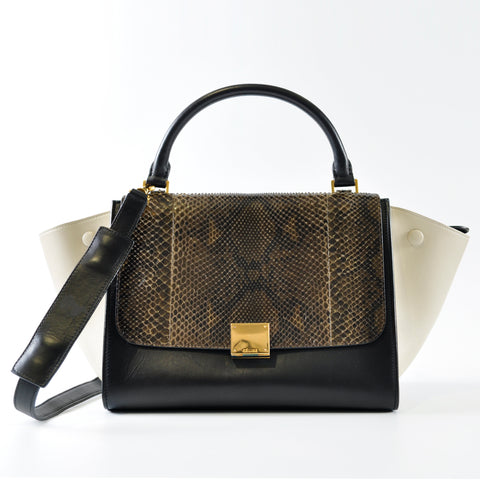 Céline Medium Tricolour Trapeze Python Bag - Glampot