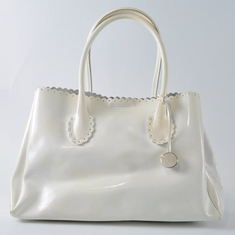 Furla White Scallop Edges Tote