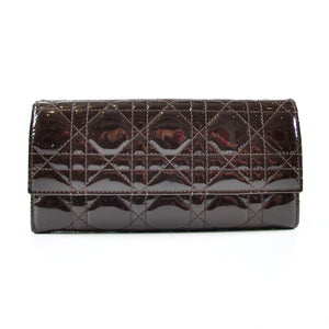 Christian Dior Lady Dior Croisiere Wallet Patent Chocolate 02-LU-0130