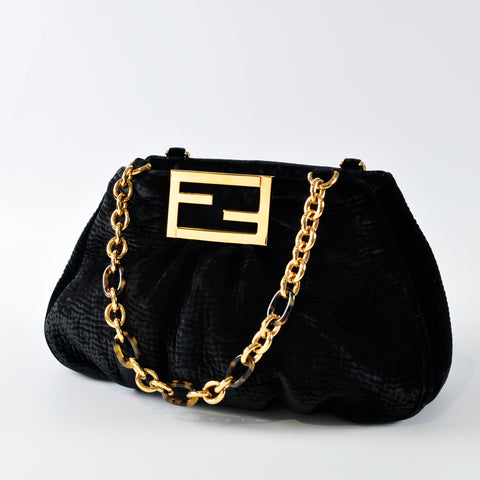 Fendi Mia Velvet Shoulder Bag in Black