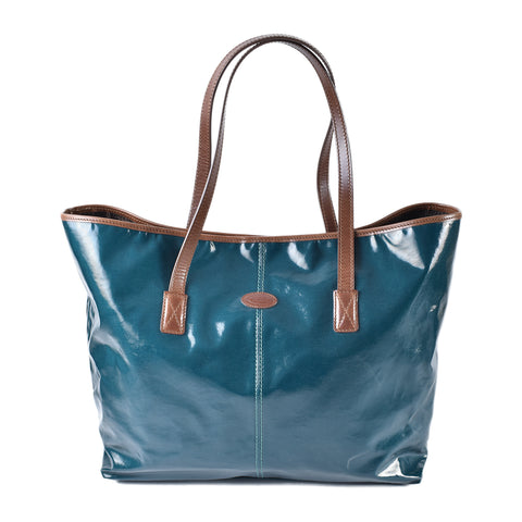 Tod's Dark Green Patent Tote with Dark Brown Leather Trim