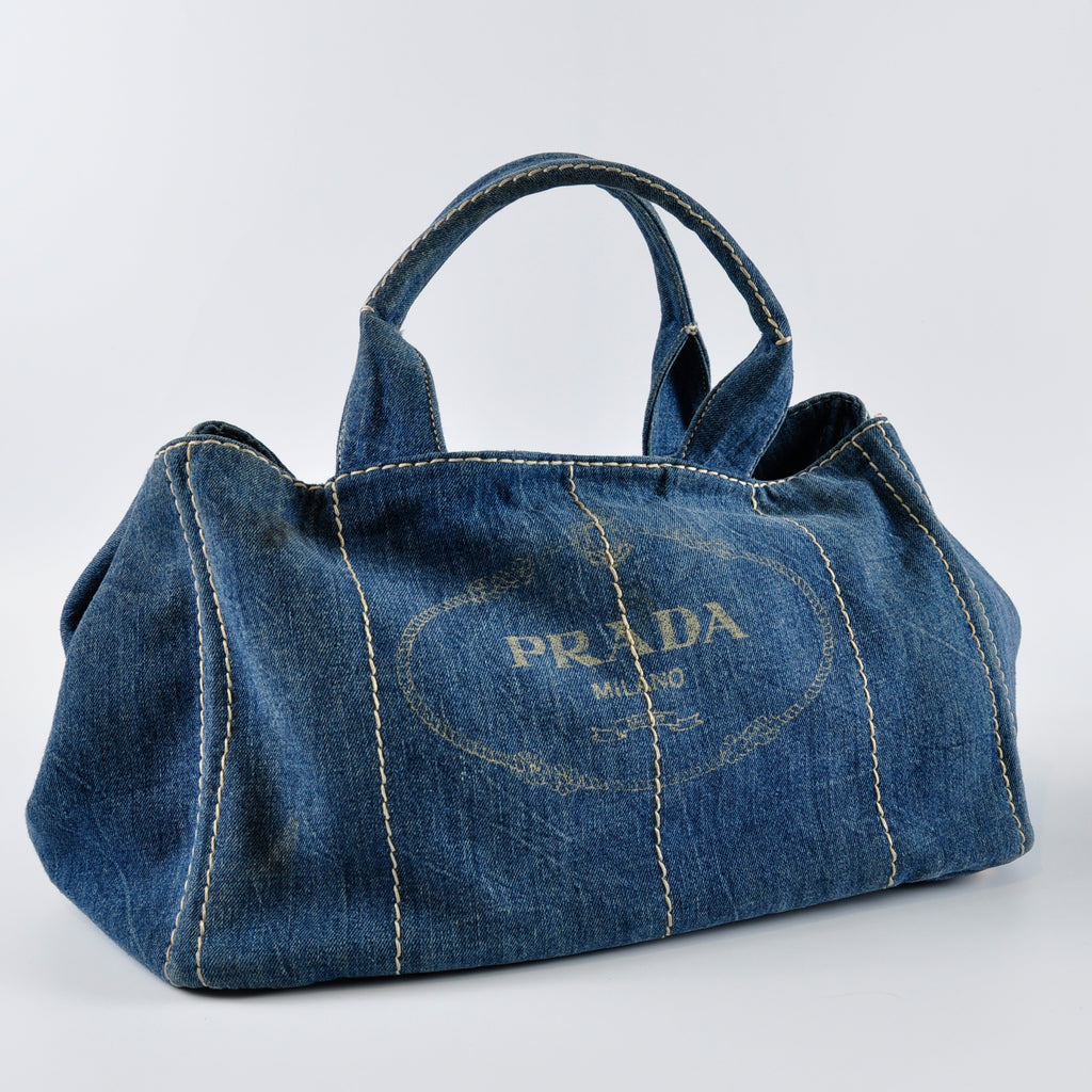 Prada B1872B Denim Shopper Tote in Avio