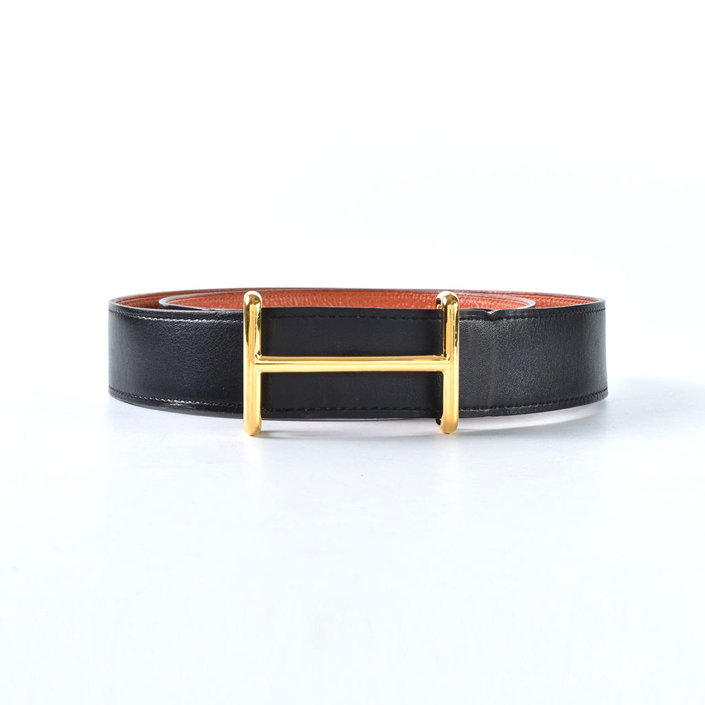 Hermes 32mm Idem Gold Belt Buckle & Reversible Leather Strap Black Box/Orange Togo Stamp Q Size 90