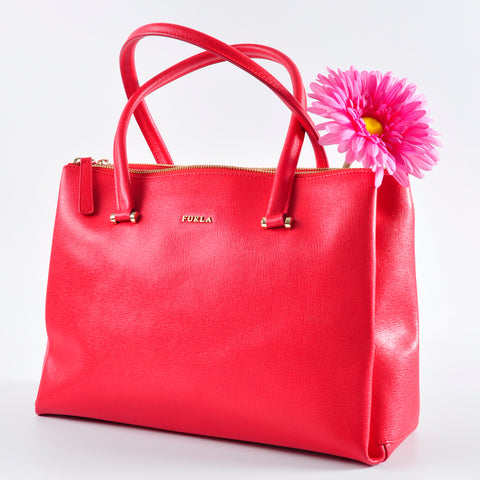 Furla Red Leather Tote