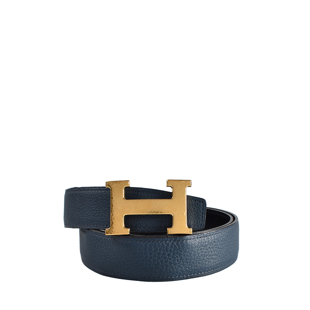 Hermes Black/Gold Box Leather Gold Plated Constance H Belt