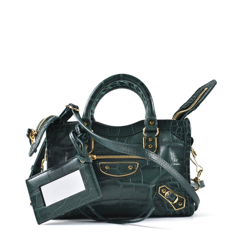 Balenciaga Nano City Metallic Edge Green Croc Embossed Calfskin GHW 505982.3021.X.535269