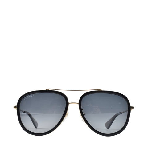 f7c93b43752 Previous. Gucci GG 0062S 011 Black Gold Metal Aviator Sunglasses Grey  Gradient Polarized Lens