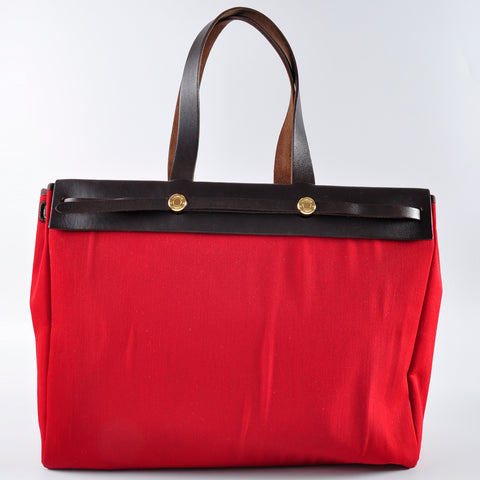 Hermès 2 in 1 Herbag Cabas 41 Canvas Red Orange Tote
