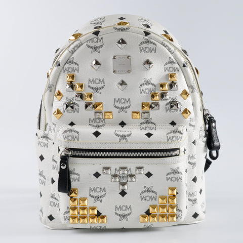 MCM Small White Backpack