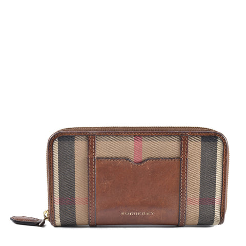 Burberry House Check Sartorial Large Ziggy Zip Around Wallet in Brown Ochre