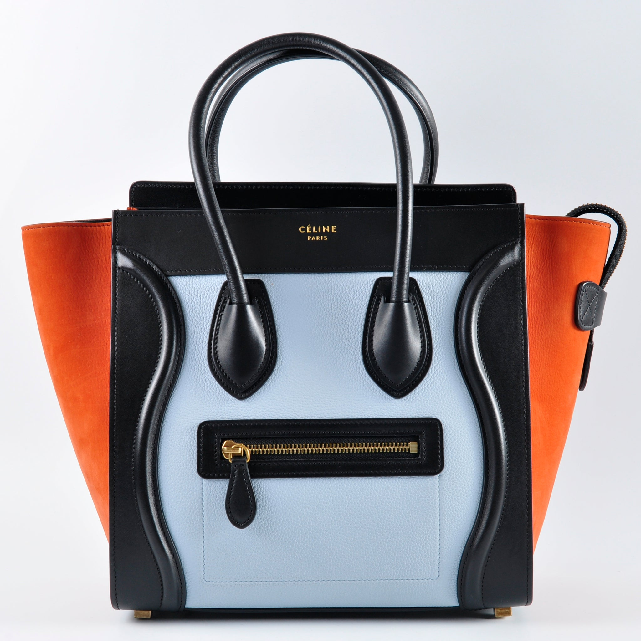 Céline Tricolour Micro Luggage Tote Bag Pale Blue - Glampot