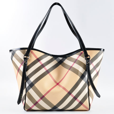 Burberry Black Patent Leather Nova Check Coated Canvas Small Canterbury Tote Bag - Glampot