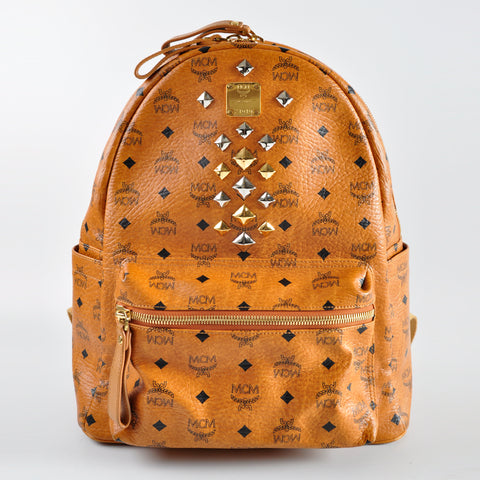MCM Stark Backpack in Medium Cognac