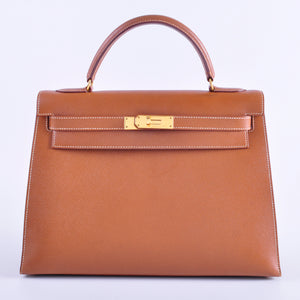 Hermes Kelly 32 Epsom Sellier GHW Stamp