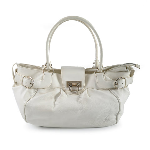 Salvatore Ferragamo White Calf Leather Shoulder Bag