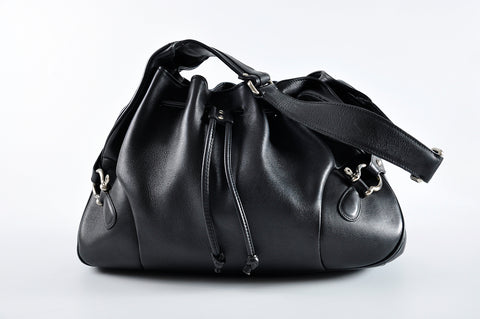 Burberry Drawstring Shoulder Bag in Black Leather - Glampot
