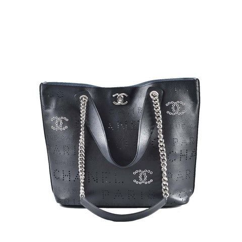 Chanel AS0487 Calfskin, Eyelet, Tweed & Silver-Tone Metal Small Shopping Tote 27428820