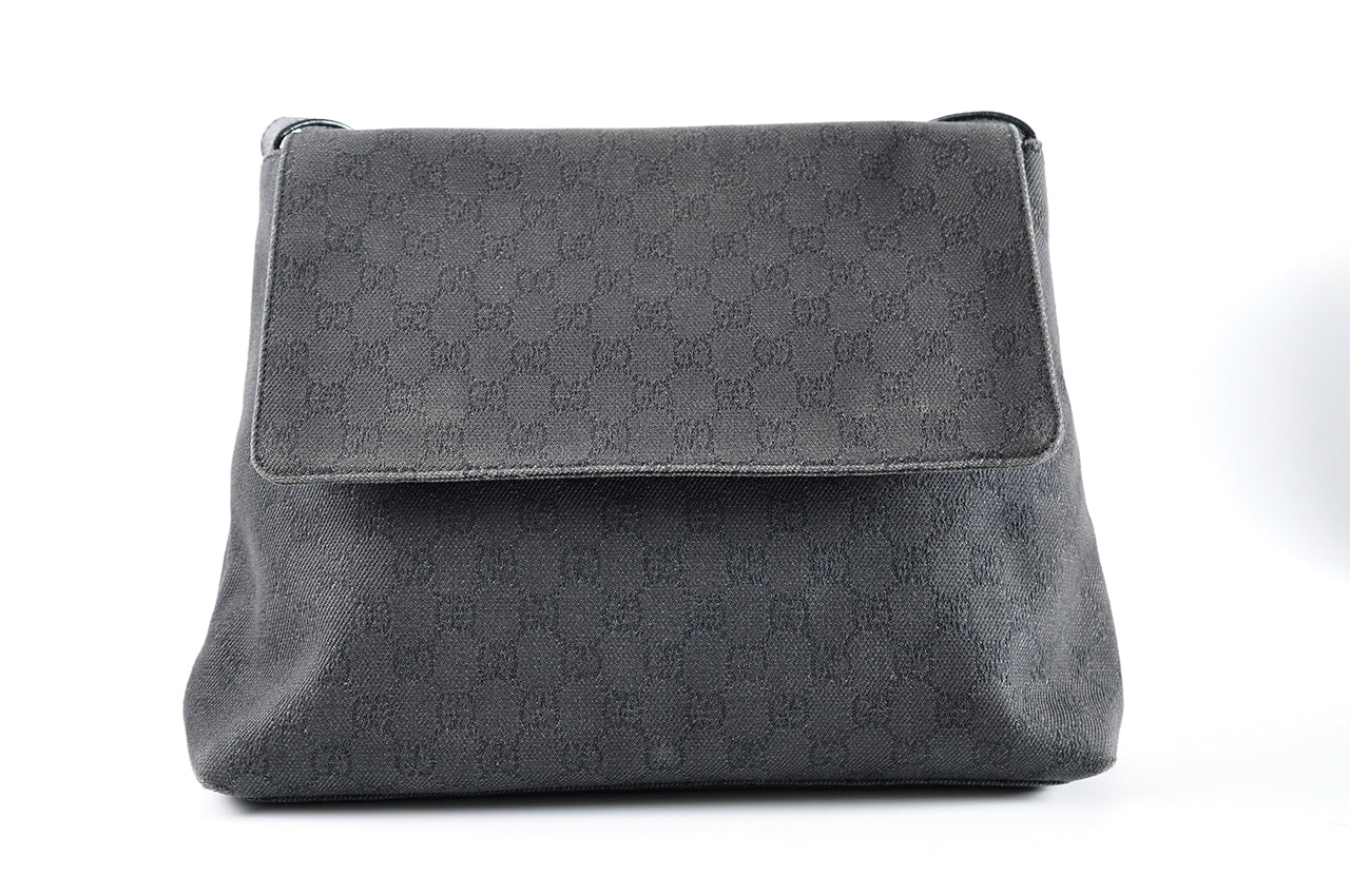 Gucci Black Denim / Leather Messenger Bag 272351 521753-05