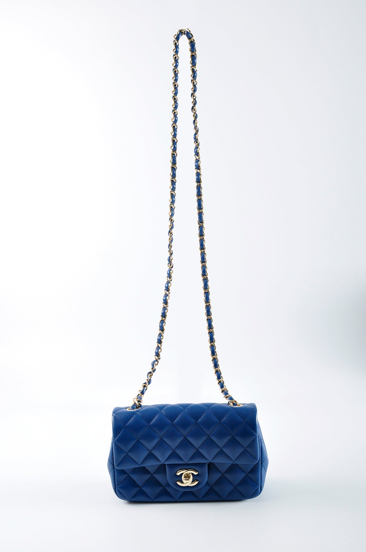Chanel Lambskin Quilted Rectangular Mini Flap Dark Blue GHW 25087540 - Glampot