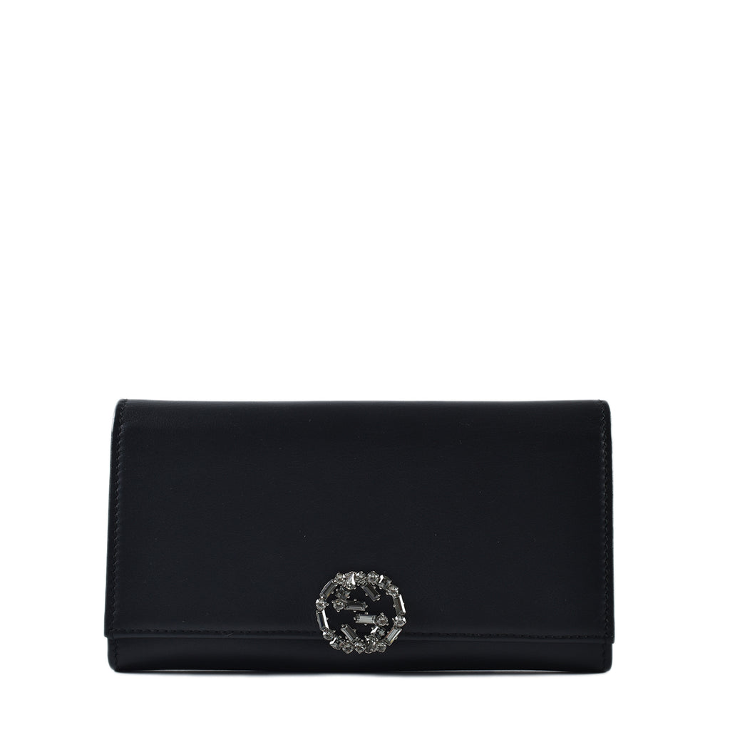 Gucci Black Leather Crystal GG Sparkling Continental Wallet