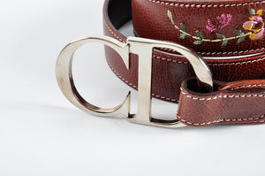 Christian Dior Embriodery Brown Belt RE-0055 - Glampot