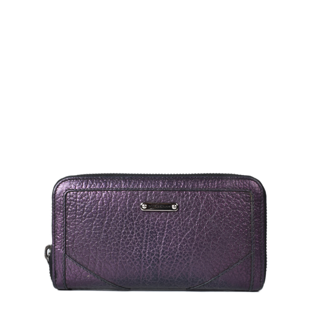 Burberry Metallic Purple Zip Around Wallet