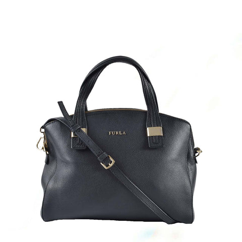 Furla Black Grained Leather 2 Way Satchel