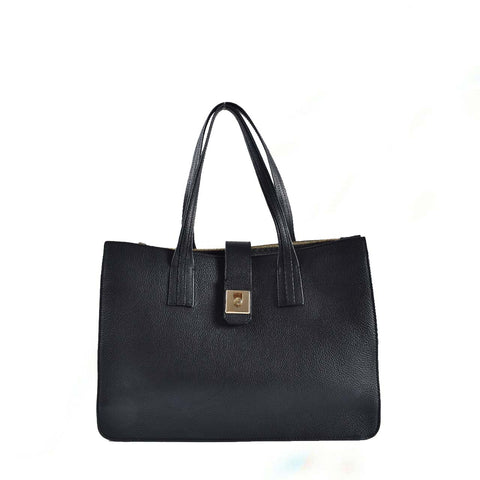 Furla Black Pebbled Leather Open Zipped Tote