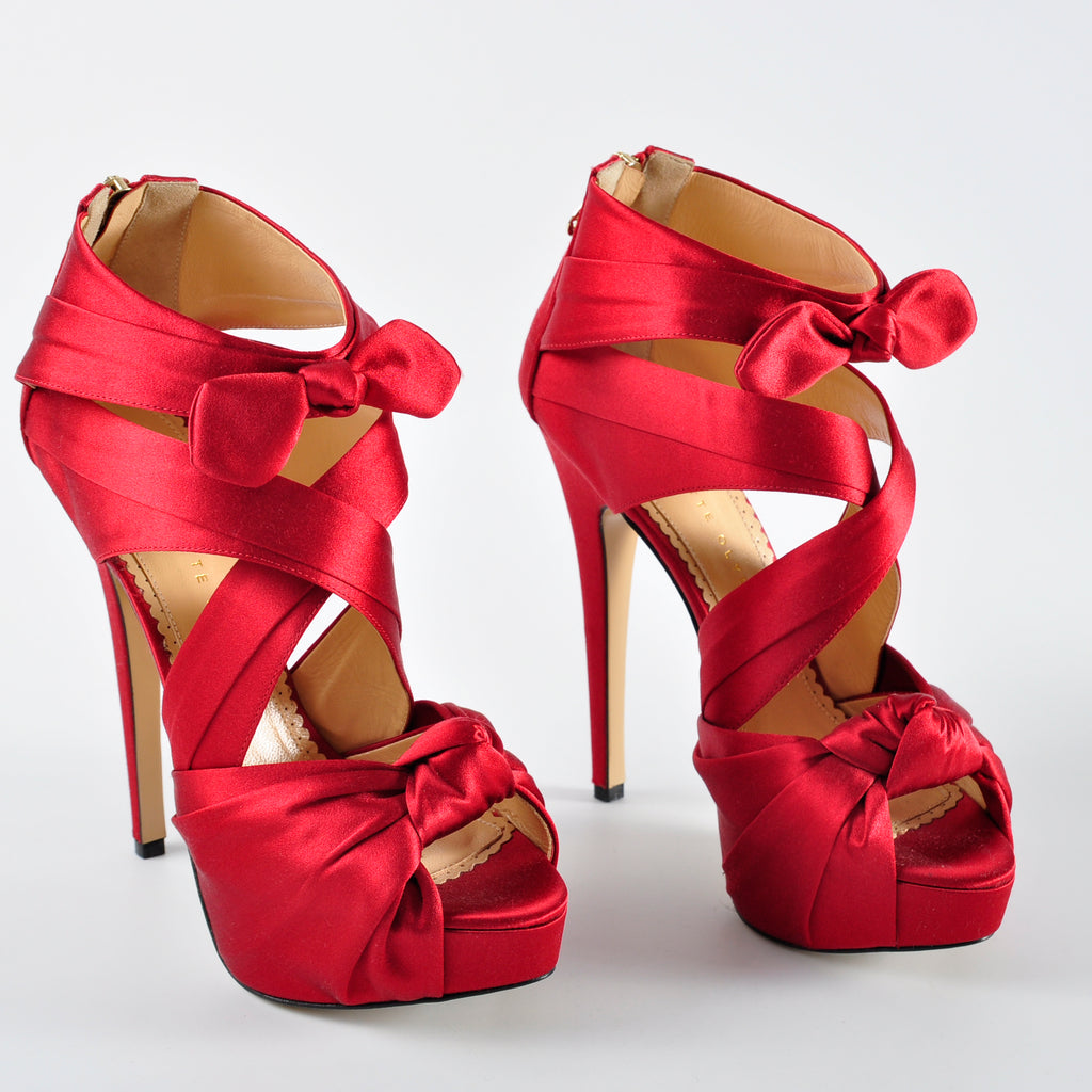 Charlotte Olympia Red 'Andrea' Silk Satin Platform Sandals - Size 38 - Glampot
