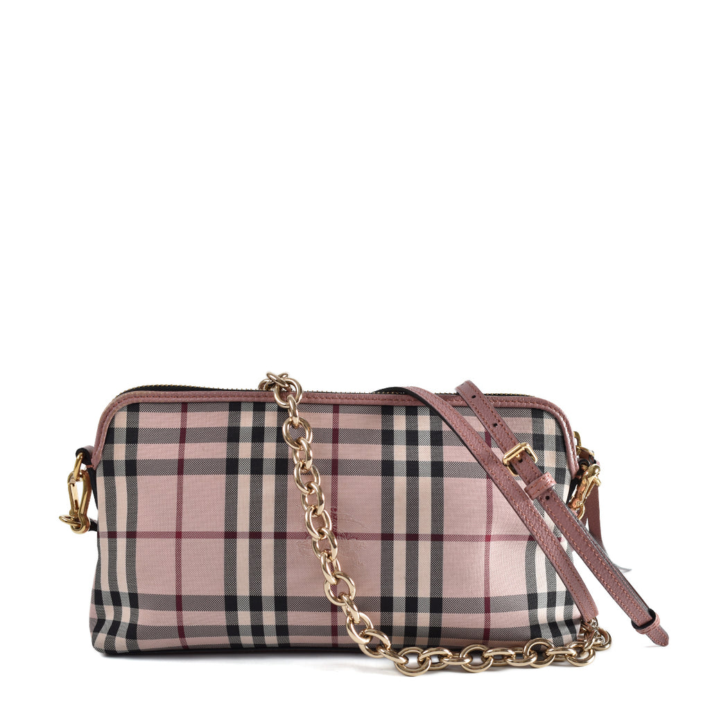 Burberry Nova Check Pink/Black Chain Strap Shoulder Bag GHW