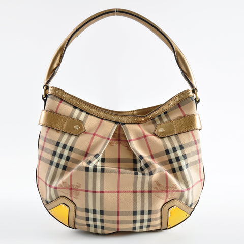 Burberry Gold Haymarket Shoulder Bag - Glampot